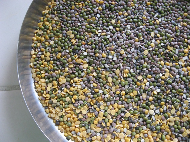 dry lentils- urad, whole moong, toor, and masoor